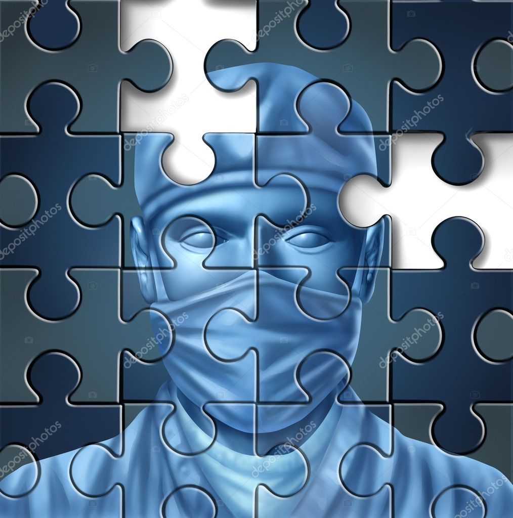 Medical care problems concept with a doctor and a surgeon mask symbol in a puzzle jigsaw texture with pieces missing as change to the status quo of the broken hospital service insurance that needs to be fixed. — Stock Photo #11812821