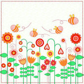 Lovely flowers and the cute bees — Stock Vector