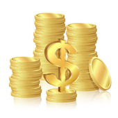 Stacks of gold coins — Stock Vector