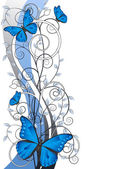 Floral illustration with butterflies — Stock Vector
