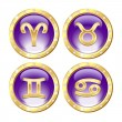 Set of the Golden Zodiac Signs — Stock Vector