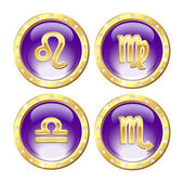 Set of the Golden Zodiac Signs — Stock Vector