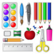 Set of School Tools and Supplies — ベクター素材ストック
