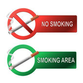 The sign no smoking and smoking area — Wektor stockowy