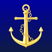 Gold Anchor on blue background — Stock Vector
