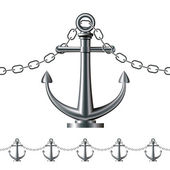 Seamless steel fence featuring an anchor — Stock Vector