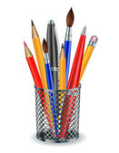 Brushes, pencils and pens in the holder. — Stock Vector