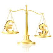 Dollar outweighs Euro on scales. — Stock Vector