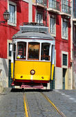 Yellow Tram in Alfama, Lisbon — Stock Photo