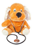 A teddy bear with stethoscope pediatrician. On a white backgroun — Stock Photo