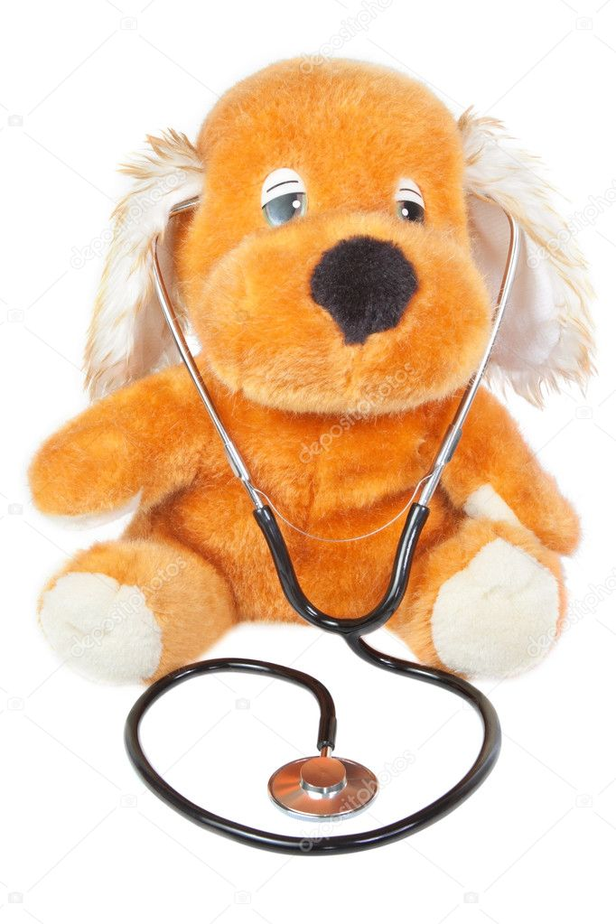 A teddy bear with stethoscope pediatrician. On a white background. — Stock Photo #10739044