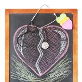 Stetoskop na pokładzie i rysować serce — Zdjęcie stockowe