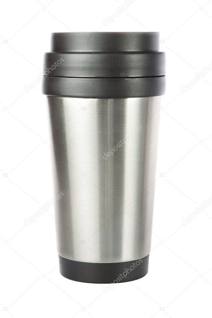 Thermos travel tumbler, cup. Closeup. — Stock fotografie #11027206