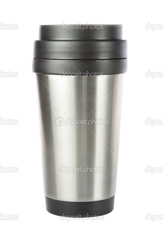 Thermos travel tumbler, cup. Closeup. — Foto de Stock   #11027206