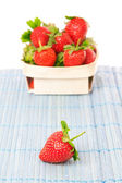 Strawberries in a basket. On a white background. — Foto de Stock