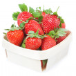 Red Strawberries in basket. Closeup. On white background. — Stock Photo #11270568