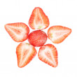 Star strawberries closeup on a white background. — Stock Photo