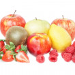 The group of tropical fruit vitamins.Peach, apple, strawberry, r — Stock Photo