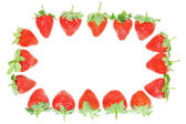 Frame of fresh red strawberries. On a white background. — Stock Photo