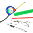 Stock Photo: Set of tools of architect, engineer and student. On whit