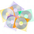 The group disks CD-DVD in the boxes. On a white background. — Stock Photo