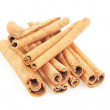 A set of cinnamon, canella sticks on a white background. — Stock Photo