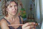 Portrait of the artist who paints. — Stock Photo