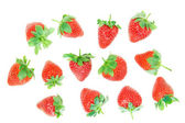 Fresh red strawberries on a white background. — Stock Photo
