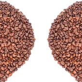 Coffee beans background. On a white background. — Stock Photo