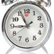 Silver Alarm Clock closeup. — Stock Photo