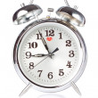 Silver Alarm Clock on a white background. — Stock Photo