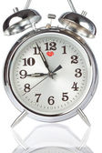 Silver Alarm Clock closeup. — Stock Photo