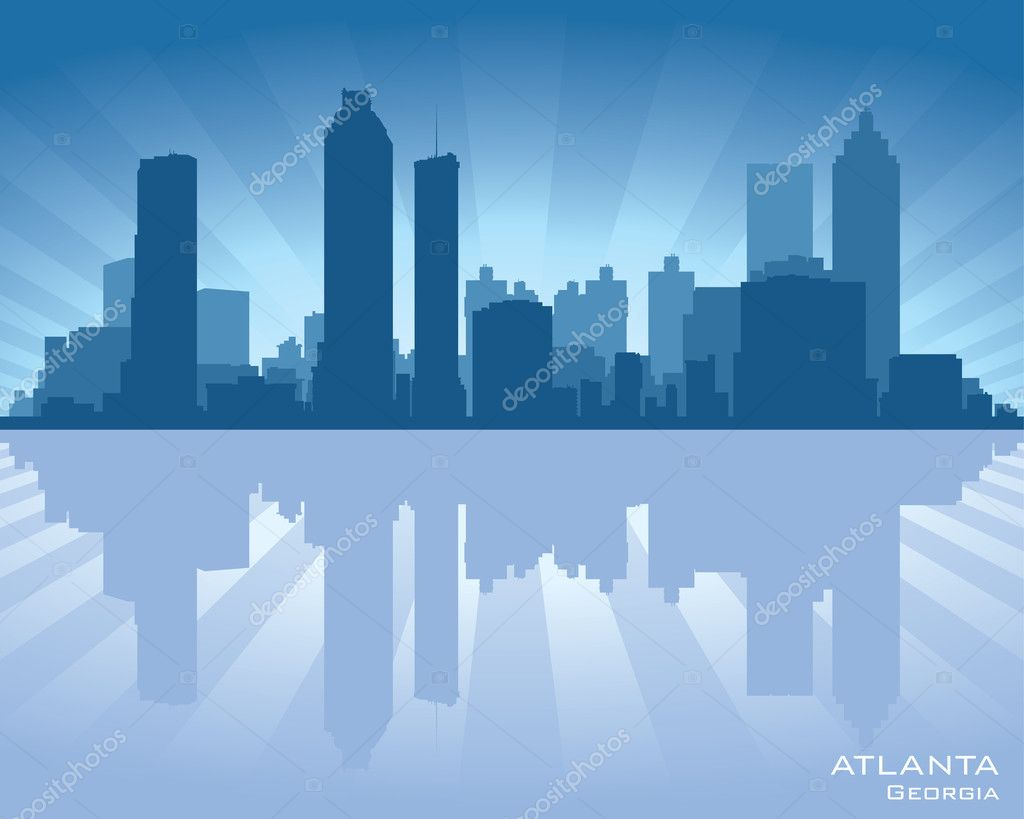 Atlanta, Georgia skyline illustration with reflection in water — Stock Vector #11414513
