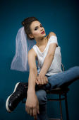 Wedding women in jeans — Stock Photo