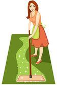 домохозяйка с mop — Cтоковый вектор
