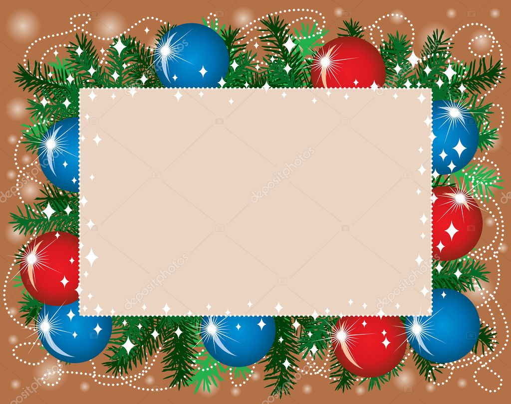 New Year congratulatory background with fir tree branches, red and blue balloons and confetti — Stok Vektör #11963224