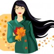 Autumn lady — Vector de stock