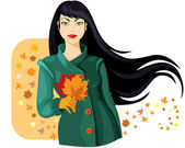 Autumn lady — Stock Vector