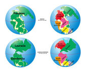 World map of Pangaea, Laurasia, Gondwana and sea Tetis — Vecteur