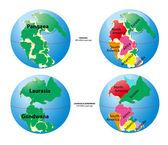 World map of Pangaea, Laurasia, Gondwana and sea Tetis — Stock Vector
