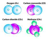 Molecules Methane, Oxygen, Carbon — Stock Vector