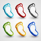 3d footprint collection. — Stock Vector