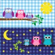 Vector de stock : Family of owls