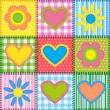 Patchwork with hearts — Imagen vectorial