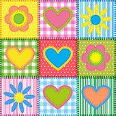 пэчворк с сердечками — Cтоковый вектор