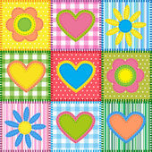 Patchwork with hearts — Stockvector