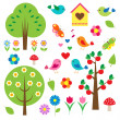 Birds and trees. Vector set — Stock Vector