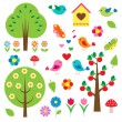 Birds and trees. Vector set — Imagen vectorial