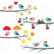 Seasonal branches and birds — 图库矢量图片