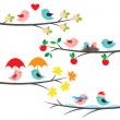 Seasonal branches and birds — Stock Vector